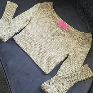 JUICY COUTURE Gold cropped sweater